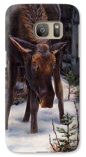 Galaxy Case featuring the painting Young Moose And Pussy Willows Springtime In Alaska Wildlife Painting by Karen Whitworth