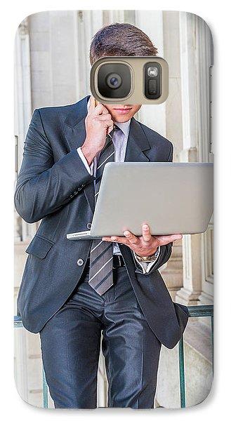 Young School Boy Working Remotely 15042510 Galaxy S7 Case