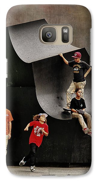 Galaxy Case featuring the photograph Young Skaters Around A Sculpture by Pedro L Gili