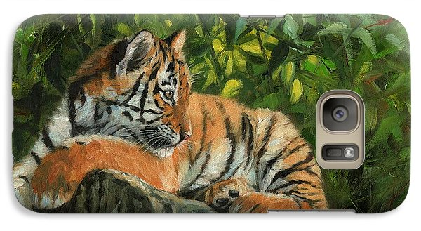 Galaxy Case featuring the painting Young Tiger Resting On Rock by David Stribbling