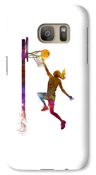 Young Woman Basketball Player 04 In Watercolor Galaxy S7 Case