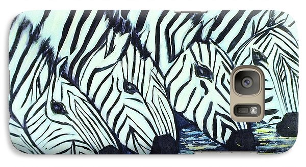 Galaxy Case featuring the painting Zebra Line by Donna Dixon