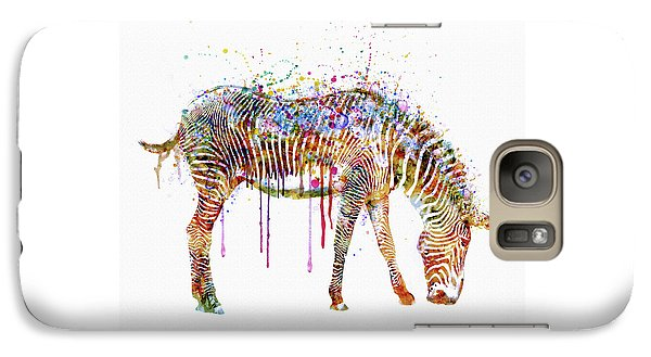Zebra Watercolor Painting Galaxy Case by Marian Voicu