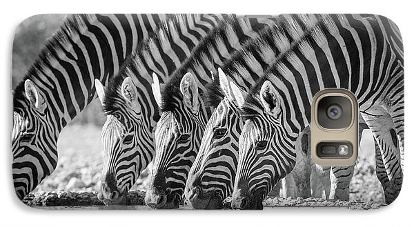Zebra Galaxy S7 Case - Zebras Drinking by Inge Johnsson
