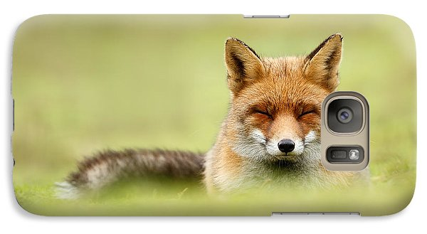 Zen Fox Series - Zen Fox In A Sea Of Green Galaxy S7 Case