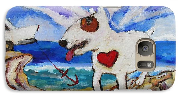 Galaxy Case featuring the painting Zephyr Dog Goes To The Beach by Dianne  Connolly