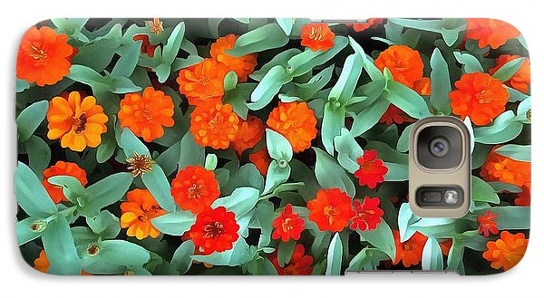 Galaxy Case featuring the photograph Zinnia Flower - Profusion Orange by Janine Riley