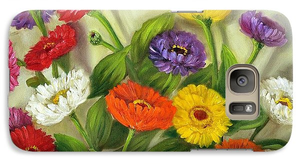 Galaxy Case featuring the painting Zinnias by Randol Burns