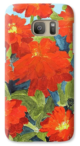 Galaxy Case featuring the painting Zinnias by Sandy McIntire
