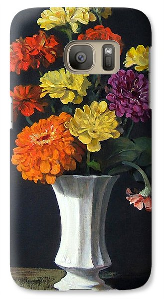Zinnias Showing Their True Colors In White Vase Galaxy S7 Case
