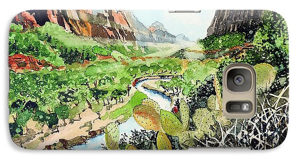 Galaxy Case featuring the painting Zion And The Virgin River by Tom Riggs