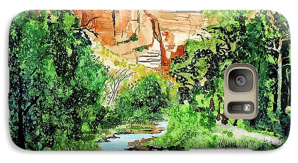 Galaxy Case featuring the painting Zion And The Virgin River Two by Tom Riggs