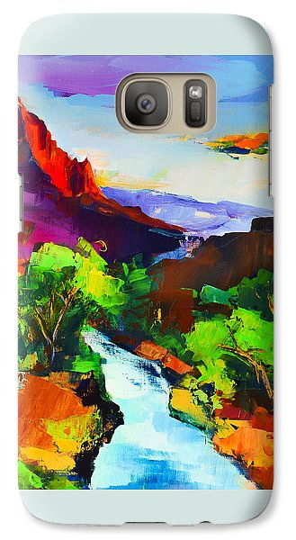 Galaxy Case featuring the painting Zion - The Watchman And The Virgin River by Elise Palmigiani
