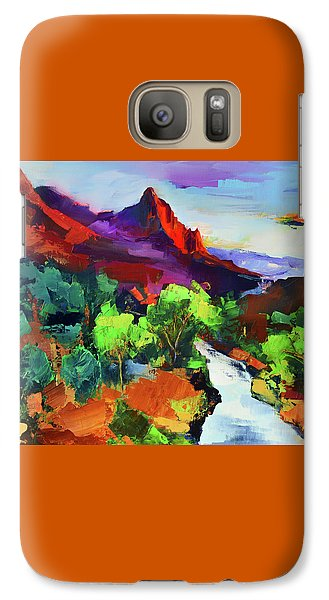 Galaxy Case featuring the painting Zion - The Watchman And The Virgin River Vista by Elise Palmigiani