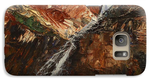 Galaxy Case featuring the painting Zions Waterfall by Jane Autry