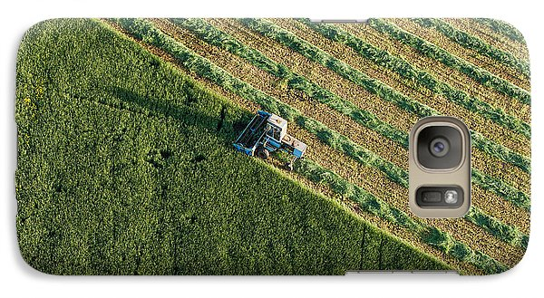 Airplanes Galaxy S7 Case - Aerial View Of Harvest Fields With by Mariusz Szczygiel