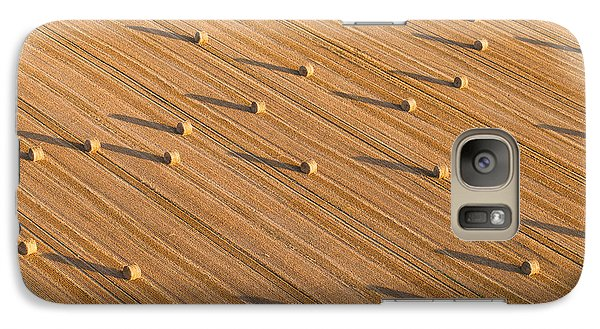 Airplanes Galaxy S7 Case - Aerial View Of Tractor On Harvest Field by Mariusz Szczygiel