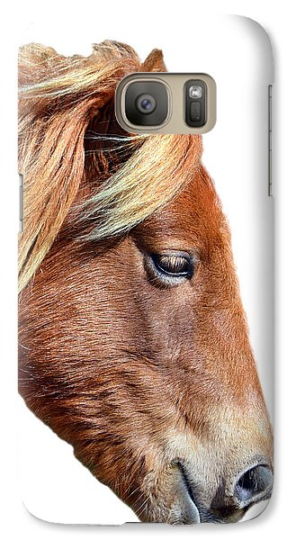 Galaxy S7 Case featuring the photograph Assateague Pony Sarah's Sweet On White by Bill Swartwout Fine Art Photography