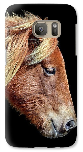Galaxy S7 Case featuring the photograph Assateague Pony Sarah's Sweet Tea On Black Square by Bill Swartwout Fine Art Photography