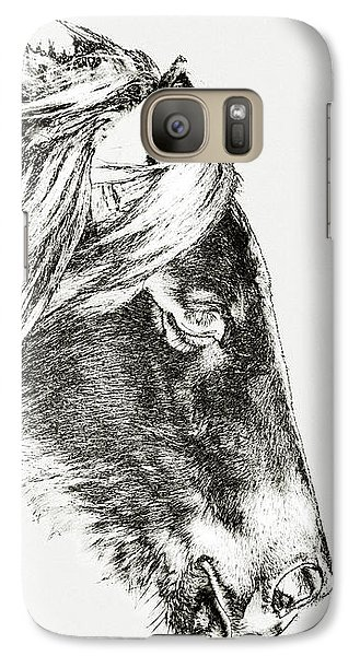 Galaxy S7 Case featuring the photograph Assateague Pony Sarah's Sweet Tea Sketch by Bill Swartwout Fine Art Photography