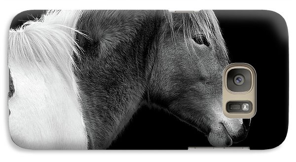 Galaxy S7 Case featuring the photograph Assateague Pony Susi Sole Black And White Portrait by Bill Swartwout Fine Art Photography
