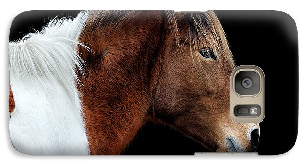 Galaxy S7 Case featuring the photograph Assateague Pony Susi Sole Portrait On Black by Bill Swartwout Fine Art Photography
