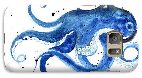 Realistic Galaxy S7 Case - Blue Octopus Silhouette Watercolor by Tatyana Komtsyan