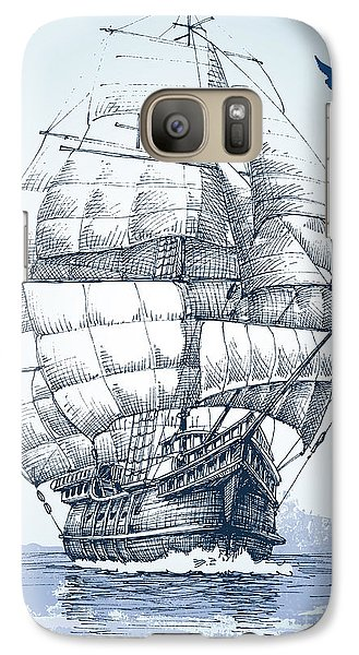Realistic Galaxy S7 Case - Boat On Sea Drawing. Sailboat Vector by Danussa