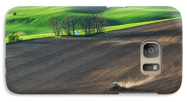 Pasture Galaxy S7 Case - Farm Tractor Handles Earth On Field - by Dmytro Balkhovitin