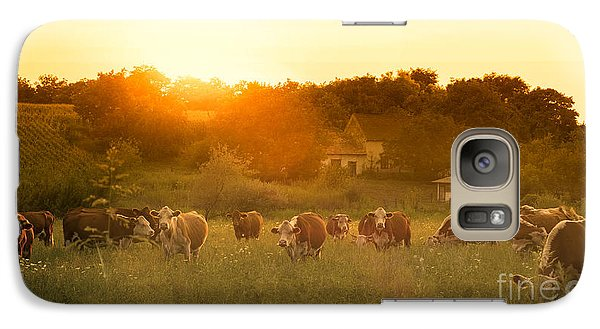 Pasture Galaxy S7 Case - Farmland Summer Scene In Sunset by Dark Moon Pictures