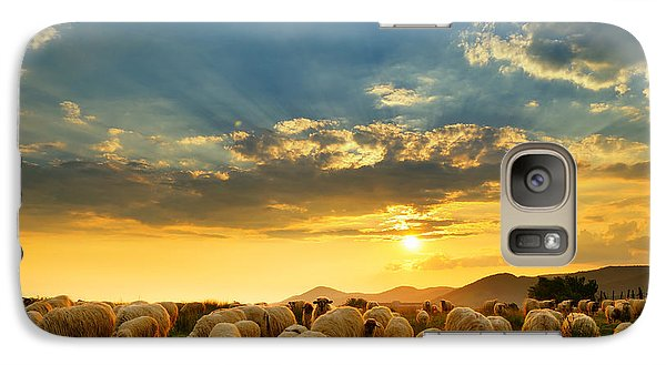 Pasture Galaxy S7 Case - Flock Of Sheep Grazing In A Hill At by Mihai tamasila