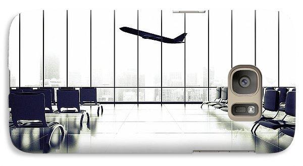 Airplanes Galaxy S7 Case - Futuristic Airport And Big Airliner In by Peshkova