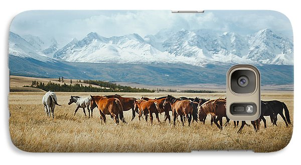 Pasture Galaxy S7 Case - Landscape With Wild Horses Near The by Mikhaylov Ilya