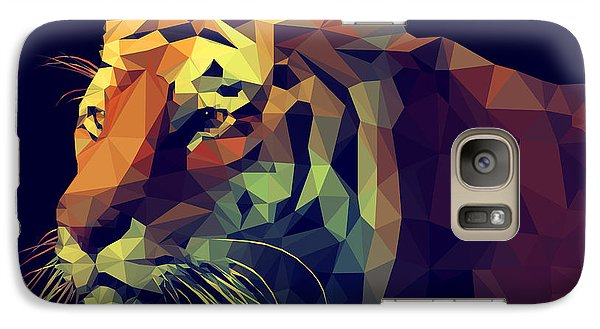 Realistic Galaxy S7 Case - Low Poly Design. Tiger Illustration by Kundra