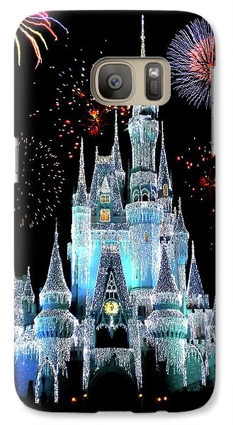Magician Galaxy S7 Case - Magic Kingdom Castle In Frosty Light Blue With Fireworks 06 by Thomas Woolworth
