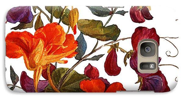 Realistic Galaxy S7 Case - Nasturtium And Sweet Peas  Flowers by Yulia Krasnov