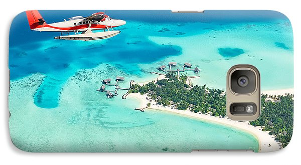 Airplanes Galaxy S7 Case - Sea Plane Flying Above Maldives Islands by Jag cz
