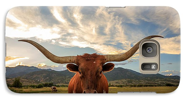 Pasture Galaxy S7 Case - Texas Longhorn Steer In Rural Utah, Usa by Johnny Adolphson