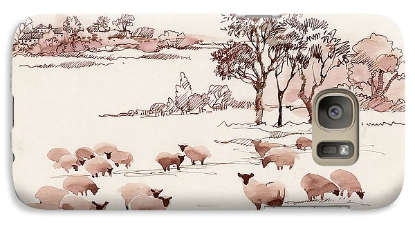 Pasture Galaxy S7 Case - Watercolor Summer Landscape With Sheep by Kostanproff
