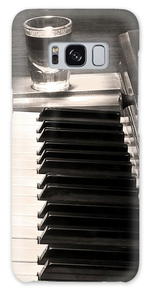 A Shot Of Bourbon Whiskey And The Bw Piano Ivory Keys In Sepia Galaxy Case