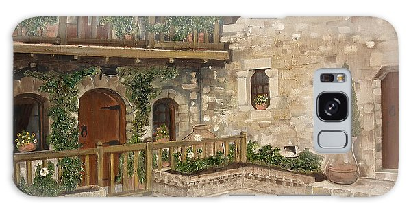 Greek Courtyard - Agiou Stefanou Monastery -balcony Galaxy Case by Jan Dappen