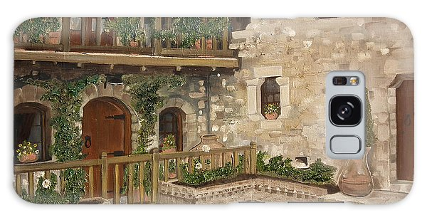 Greek Courtyard - Agiou Stefanou Monastery -balcony Galaxy Case