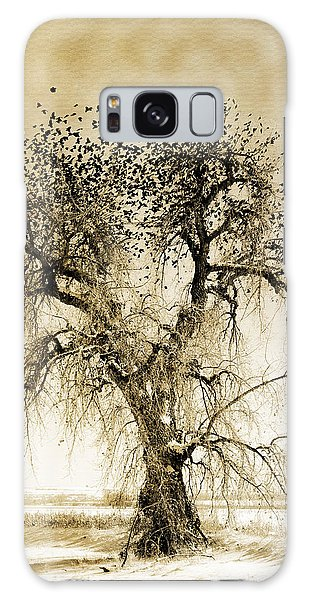 Bird Tree Fine Art  Mono Tone And Textured Galaxy Case