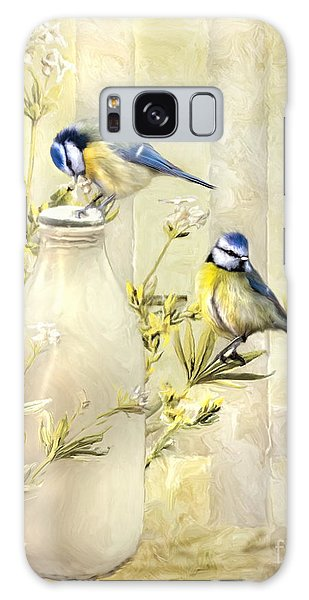 English Blue Tits Galaxy Case by Trudi Simmonds