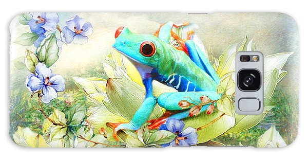 Frog On The Flowers Galaxy Case