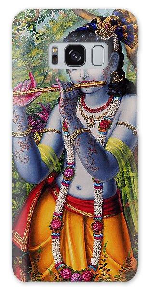 Krishna With Flute  Galaxy Case