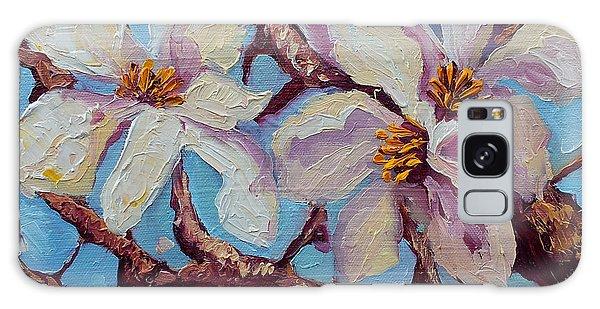 Magnolia Flower Painting Oil On Canvas Fine Art By Ekaterina Chernova  Galaxy Case