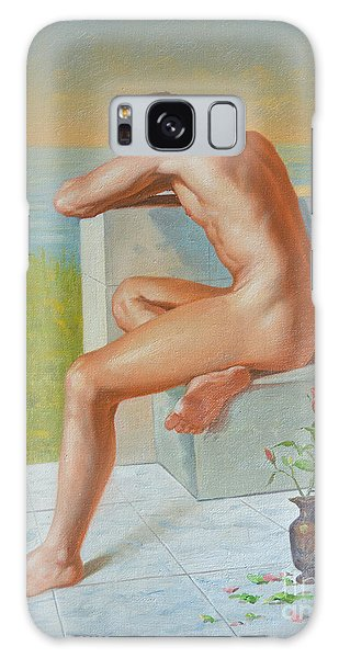 Original Classic Oil Painting Man Body Art  Male Nude And Vase #16-2-4-09 Galaxy Case by Hongtao     Huang