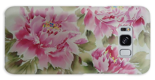 Pink  Peony 014 Galaxy Case by Dongling Sun
