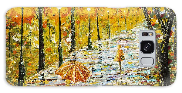 Rainy Autumn Beauty Original Palette Knife Painting Galaxy Case